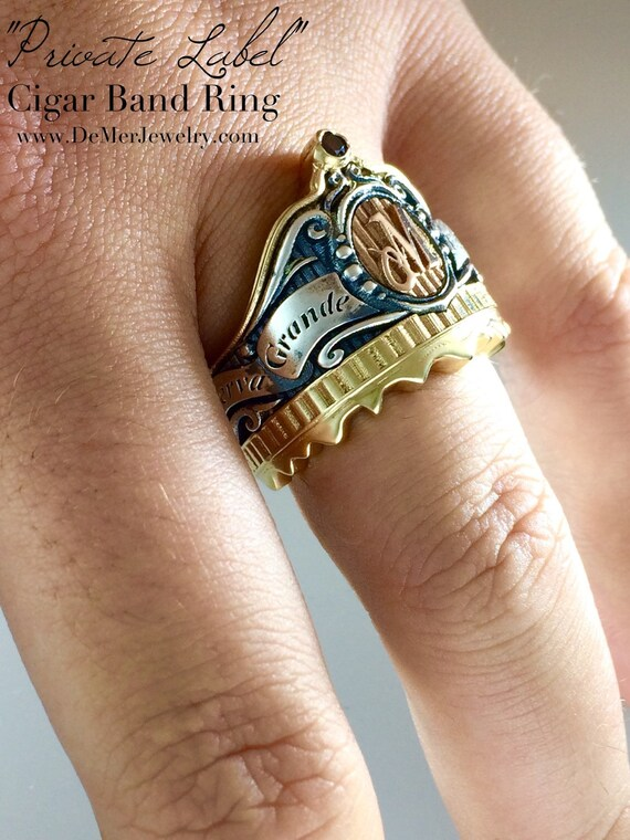 Cigar Band Initial Ring 14k gold sterling silver red