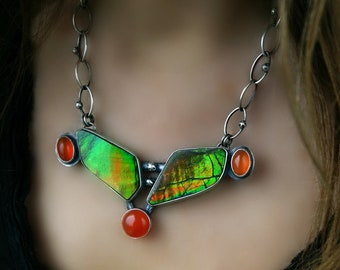 Aurora - Ammolite and Carnelian Sterling Silver Necklace