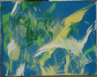 "Painting by a Pony ""Birds"" Original acrylic on canvas"