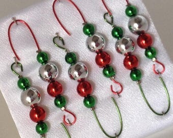 Beaded Ornament Hangers - Silver, Red and Green beads on Red & Green  - FREE SHIPPING