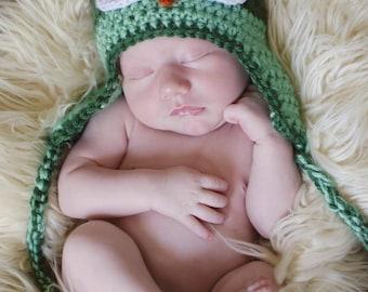 Crochet Owl Earflap Hat, Newborn Photo Prop, Crochet Baby Owl Hat, Adult Owl Hat, Custom colors crochet owl hat