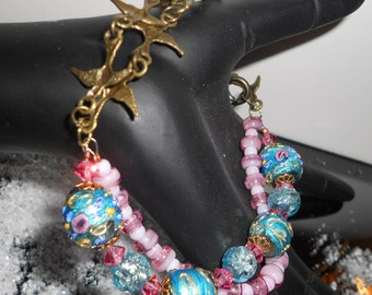 Weddings and Birdies and Pinks and Blues Bracelet