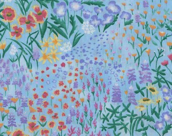P&B Fabrics Summer Bouquet by Deborah Corsini Garden Flowers Light Blue Fabric Yardage OOP out of print