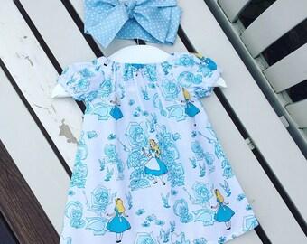 Alice in wonderland disney Baby Toddler Girl's DRESS cotton blue white fabric 0-3 months 3-6 months 6-12 months 12-18 months 18-24 months