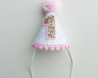 Mini White Pink and Gold Glittery Party Hat   First Birthday   Cake Smash   Photo Prop    Baby Girl   Ready to Ship