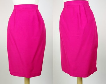 Vintage hot neon pink skirt, high waist pencil skirt, rayon 1980s skirt, small
