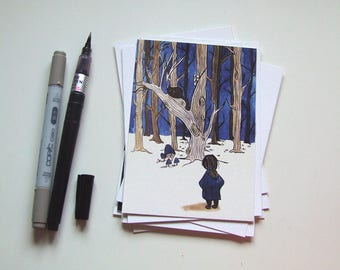 A Dozen of Creepy Trees - Inktober Postcard Collection [Halloween]