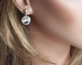 Swarovski Rivoli Earrings, Dusty Pink Crystal Earrings, Pink Crystal, Stud Earrings, Rivoli Post Earrings, Swarovski Rivoli Post earrings