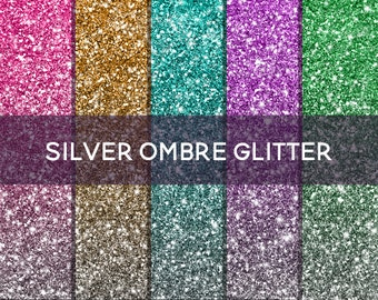 "Ombre Glitter Digital Paper ""Colorful"" Silver Glitter Background Digital Glitter Ombre Glitter Texture Ombre Digital Paper Clipart Sparkle"