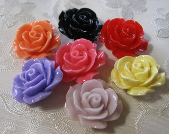 SALE Drilled Resin Ruffled Rose Flower Beads with Hole Choose your Colors 18mm 926
