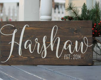 Family name sign, Wedding established sign, Wedding last name sign, Wedding family name sign, Wedding name sign, Personalized wedding gift