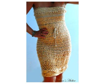 Knitted strapless dress- Handmade rustic sexy dress- Beige crochet corset dress- Small size dress -open back knit dress- Women knitted dress