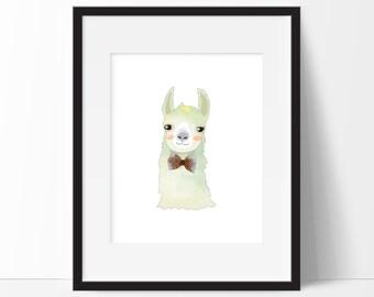 Llama Art, Baby Art, Baby Nursery Art, Boy Llama Decor, Llama Print, Llama Illustration, Nursery Decor, Instant Download, PRINTABLE 8x10