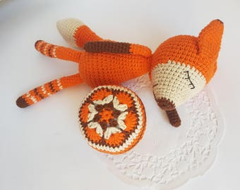 Fox rattle toy set of two baby ball soft ball new baby toy toddler gift for baby baby shower gift crochet ball baby gift rattles baby girl