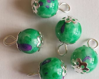5 pendants beads 10mm glass fuchsia/worm