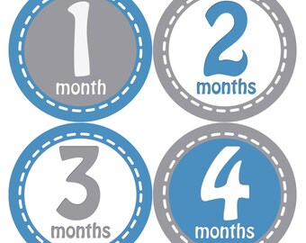 Baby Month Stickers, Baby Boy Gift, Milestone Stickers, Monthly Sticker, Monthly Baby Boy Stickers, Baby Month Milestone Stickers230