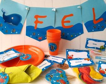 Kit de fiesta /Invitaciones / Toppers / Etiquetas / Imprimible Cumpleaños Mod. Animales Marinos