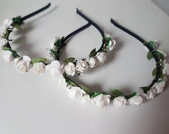 flower girls, hairband, flower hairband, white flowers, flower girl hairband, headband, flower crown, flower girl crown, flower girls