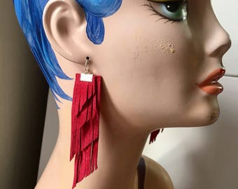Red suede Long Fringe Statement Earrings