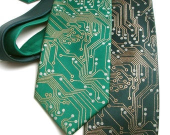 Circuit Board Tie - Men's Necktie - Metallic Ink on Green or Black Necktie - Science Gift - Screen Printed Tie