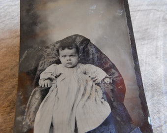 Tintype Photo - Baby in Dress