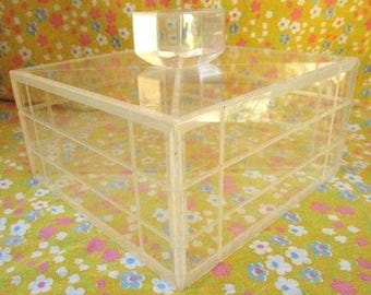 """Acrylic Lucite Box covered sectional  w/ Lid for Cake Pastries Jewelry 6"""" square"""