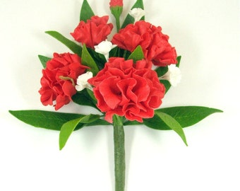 Handmade Polymer Clay Flowers Supplies Carnation for Hair Accessory and Bouquet