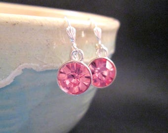 Rhinestone Earrings, Pink Glass Rhinestones and Silver Dangle Earrings, FREE Shipping U.S.