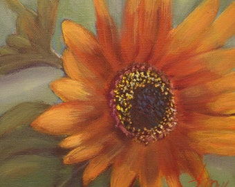 SUNFLOWER, 8 x 8 original oil painting by Lesley Mills from Merlin's Garden Free Domestic Shipping