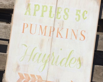 """Apples Pumpkins Hayrides Distressed Fall Wooden Sign 18"""" x 22"""""""