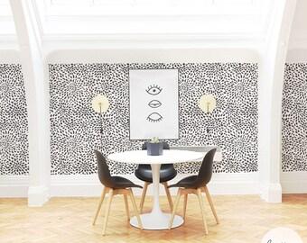 Starburst Wallpaper in black/ Modern Traditional or Removable Wallpaper