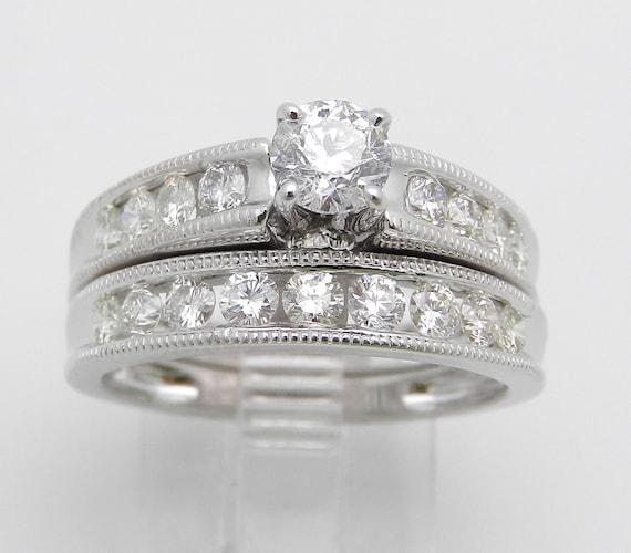 1.36 ct Diamond Engagement Wedding Ring Band Set 14K White Gold Size 7.25 Bridal Set