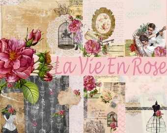 La Vie En Rose (Digital paper)