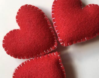 Three Red Felt Lavender Sachets