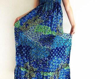 Thai Women Maxi Dress Gypsy Dress Boho Dress Hippie Dress Summer Beach Dress Long Dress Party Dress Clothing Printed Blue (DL20)