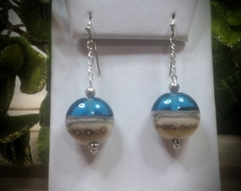 Ocean Wave Artisan Lampwork Earrings