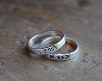 ONE Personalized Stacking Inspirational Ring . Runners Jewelry .  fitness inspiration  .  race accessories