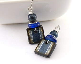 Handmade Earrings, Denim Blue Earrings, Wood Decoupage Earrings, Artisan Earrings, Boho Earrings, Navy Blue Earrings, Silver Earrings, AE075