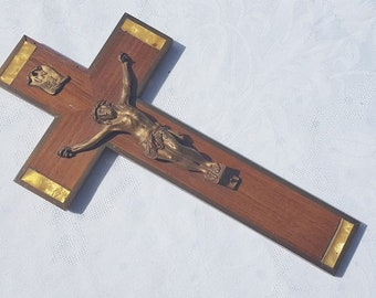 french vintage  wooden Cross Crucifix  with Jesus christ   INRI religious  catholic