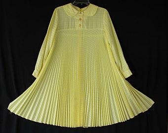 Jane Bradley Tent Dress, Yellow Gingham, Peter Pan Collar, Pleated, Twiggy