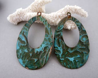 """2 Verdigris Copper Oval Washer Pendants or Earring Charms, 2""""x1 1/2"""", Ready to Ship"""