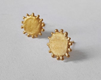 Gold Sun Earrings, Minimalist Stud Earrings, Dotted Earrings, Gold Plated Studs, Sun Earrings, Gold on Sterling Silver Jewelry, Gift for mom