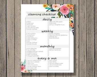 Cleaning checklist printable - daily, weekly, monthly, and every 6 months cleaning checklist.  Tribal Design.  Spring Cleaning Checklist.