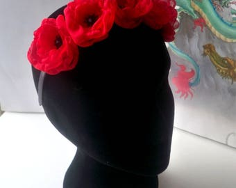 Headband decorated with poppies - red and black chiffon