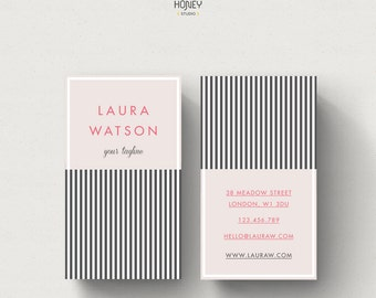 Stripes Pattern, Unique Business Card, Retro Business Card, Original Calling Card, Premade Contact Card, Chic Business Card, Bakery Branding