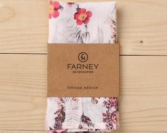 White floral pocket square, wedding , groom, bright Pocket Squares, gift for men, Men's Handkerchief , mens gift,floral Handkerchief