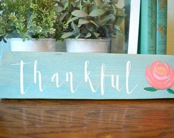 Thankful Wood Sign / Hand Painted Wood Sign / Fall Decor / Farmhouse Sign / Vintage Aqua Wood Sign