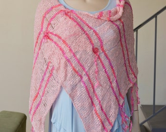 Whimsical poncho in pink cotton rayon with handdyed ribbons wovern through spring summer