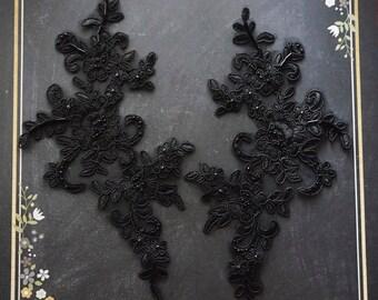 Beaded lace applique | lace patch | black lace | encaje