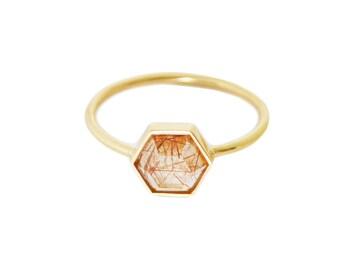 Rutilated Quartz, Gold Hexagon ring